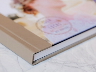 close up of spine of a  wedding album