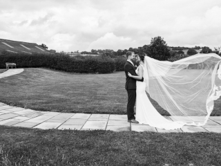 Bride & Grom stood on path wedding photographers cardiff