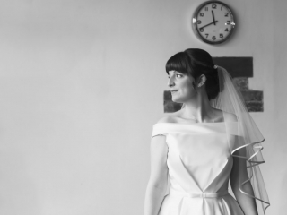 Bride stood looking right wedding photographers cardiff