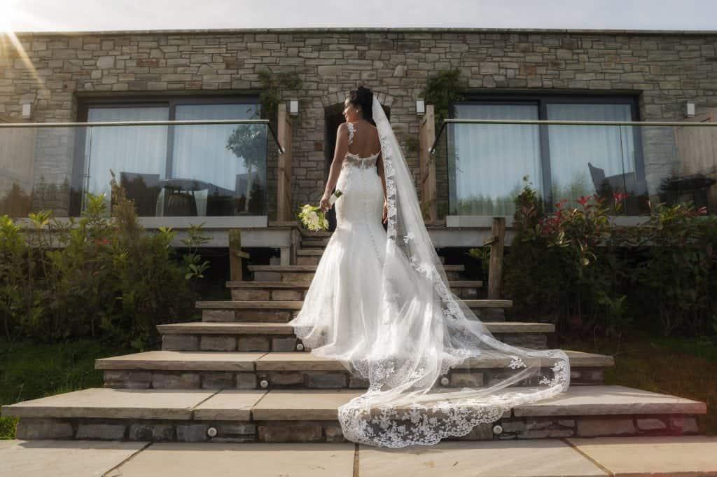 Bride Stood on steps wedding photographers cardiff