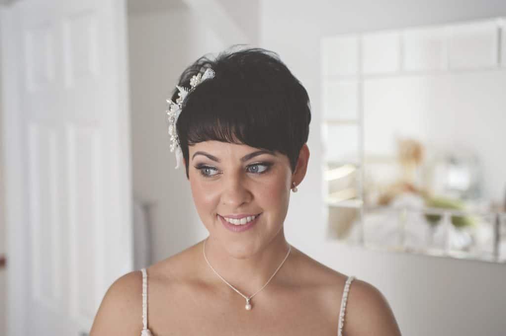 Portrait shot of bride looking down