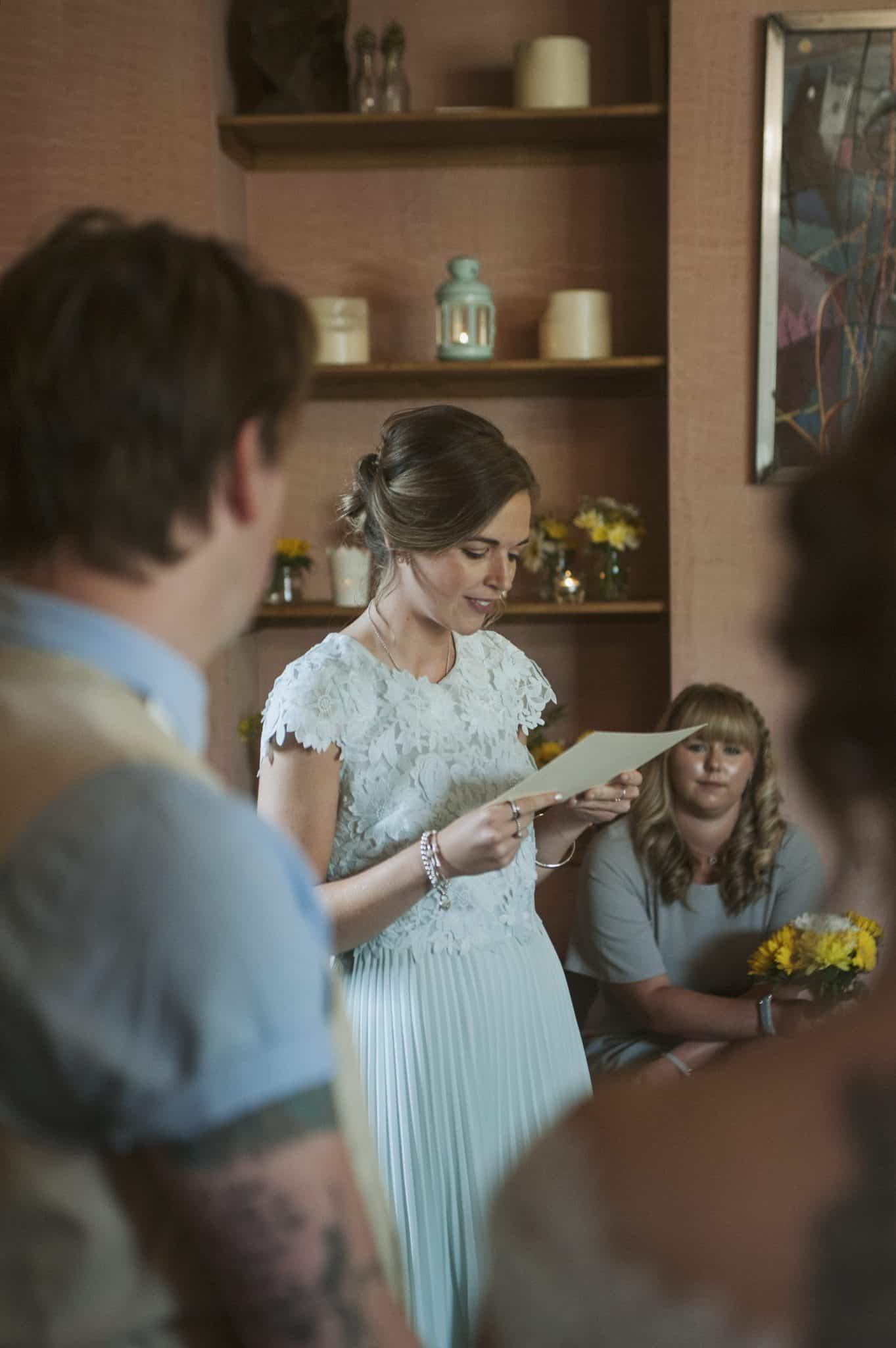 Women reading at wedding