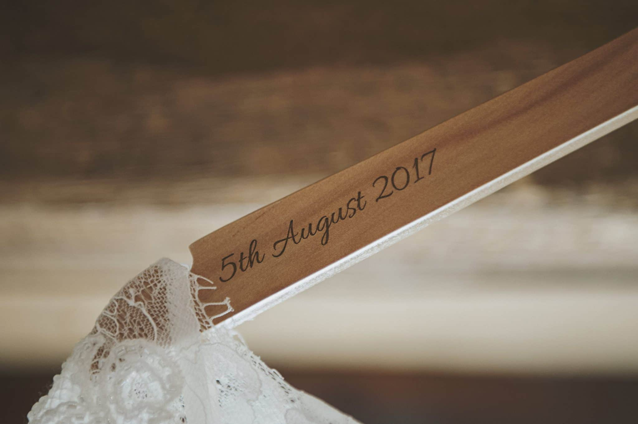 Wedding date engraved on a coat hanger