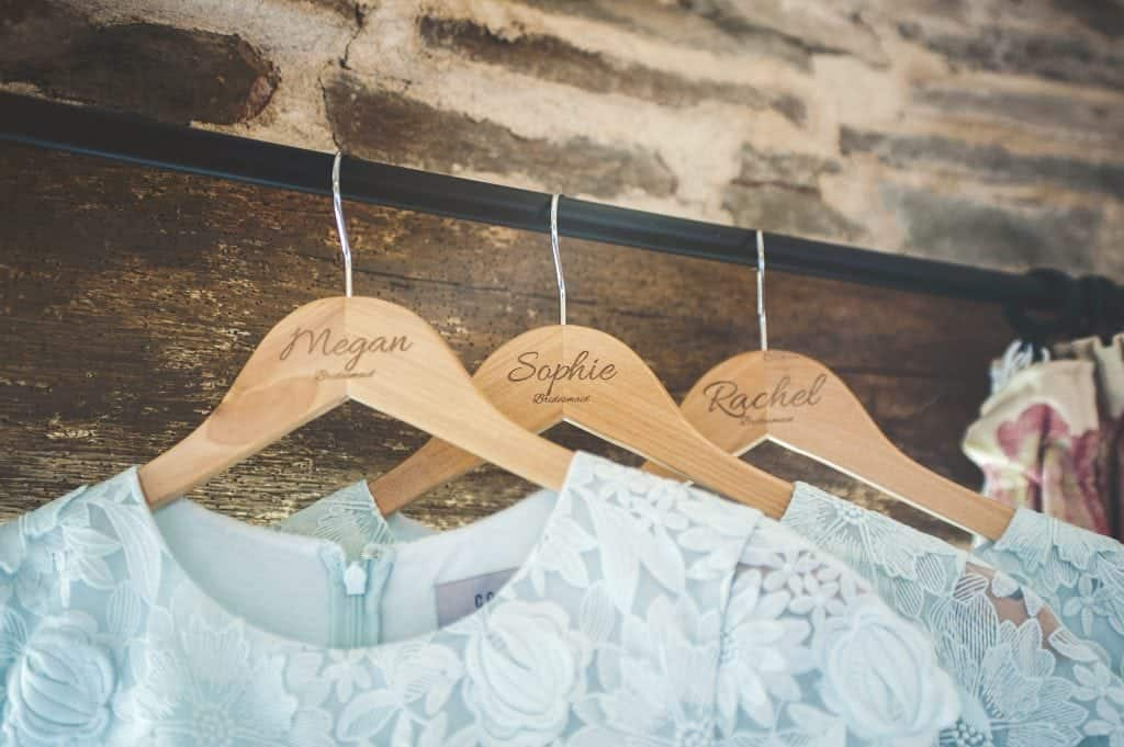 Bridesmaid's coat hangers with their names engraved on them
