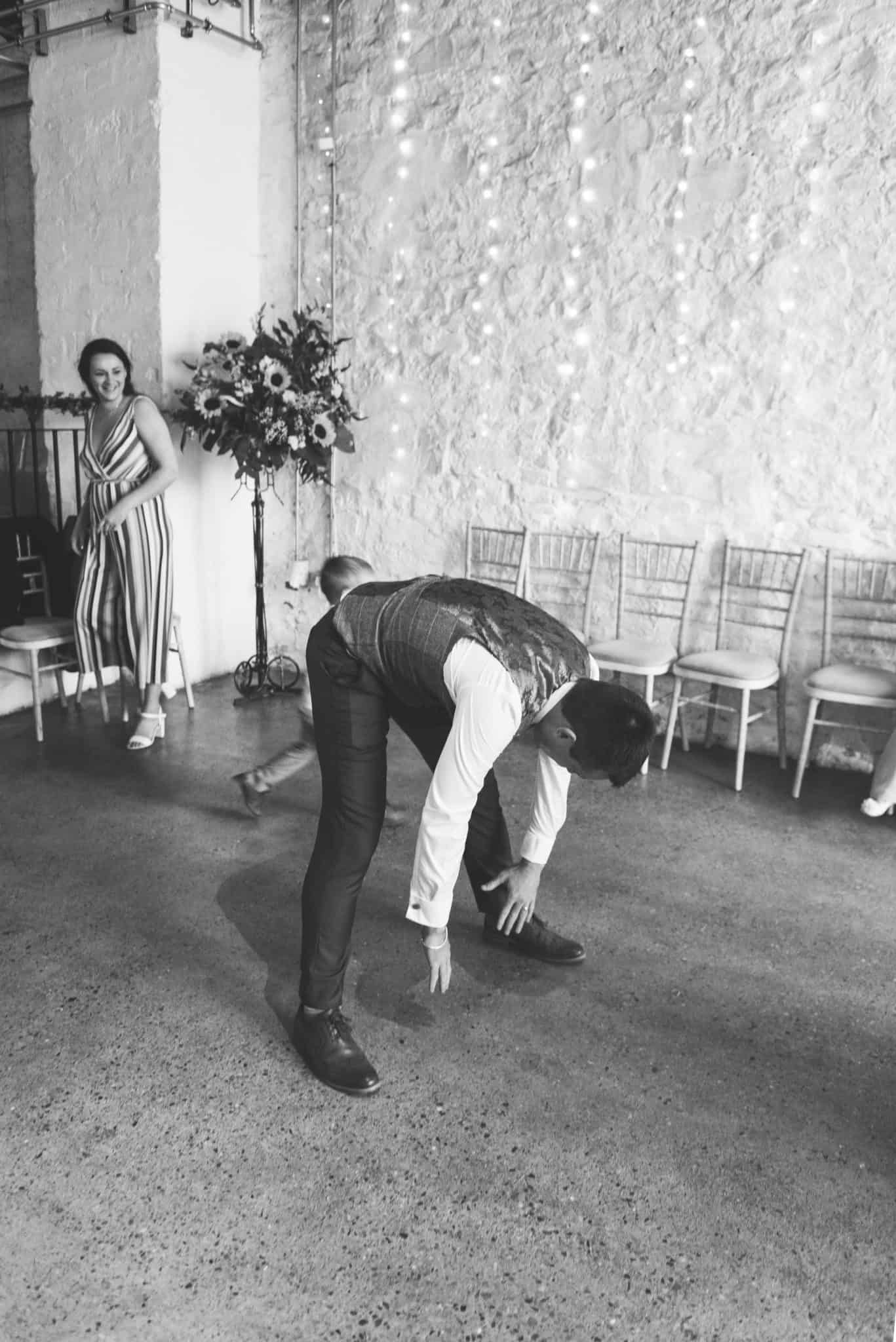 Groom stretching