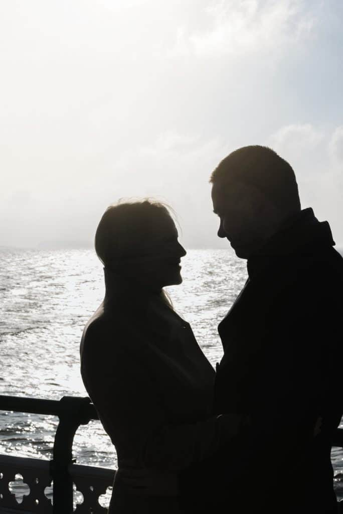 Silhouette of couple on pier
