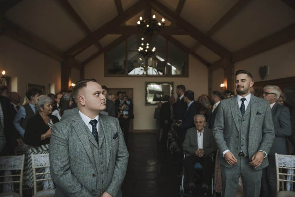 Groom & bestman waiting at altar Oldwalls Wedding Photographer