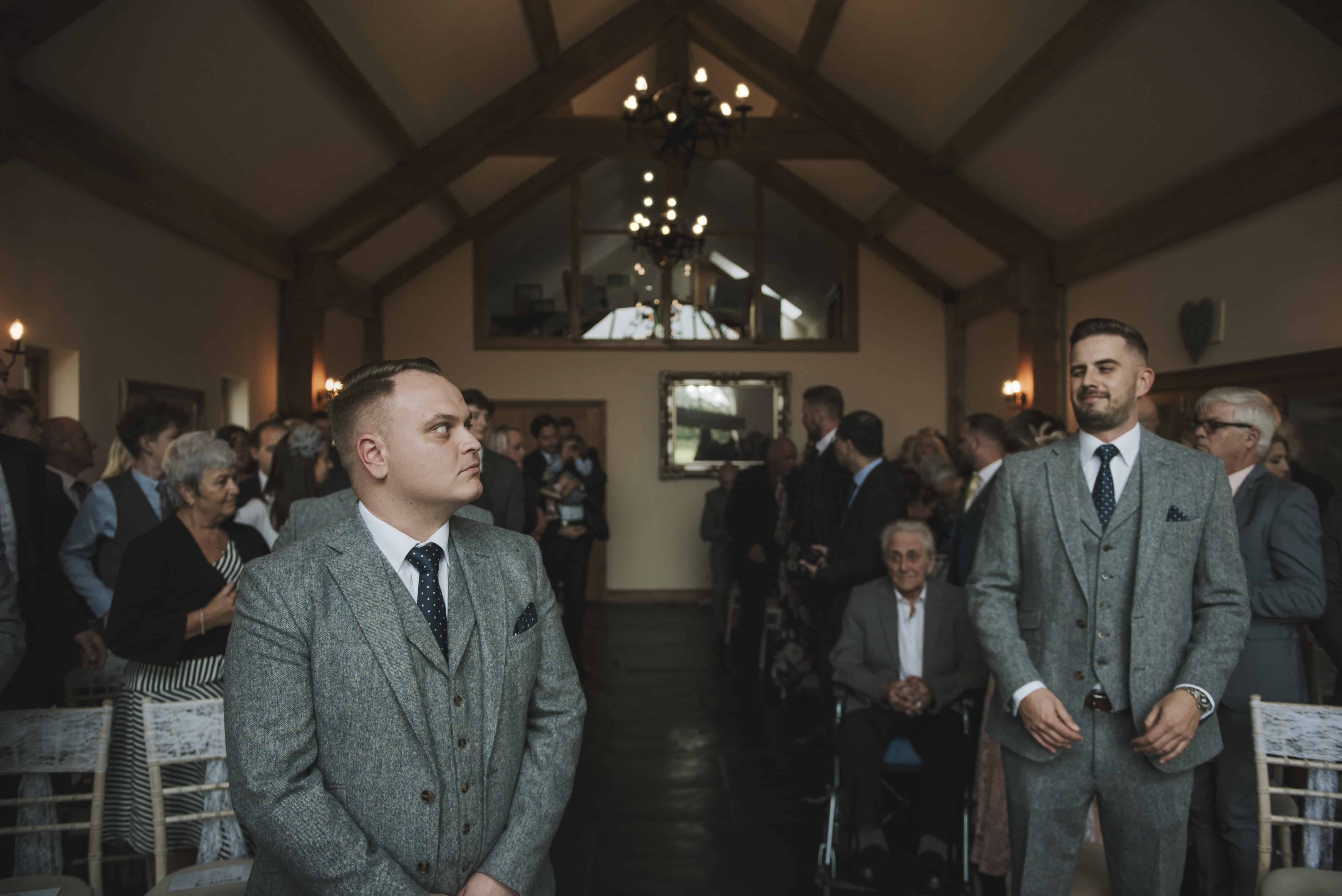 Groom & bestman waiting at altar Oldwalls Wedding Photographer