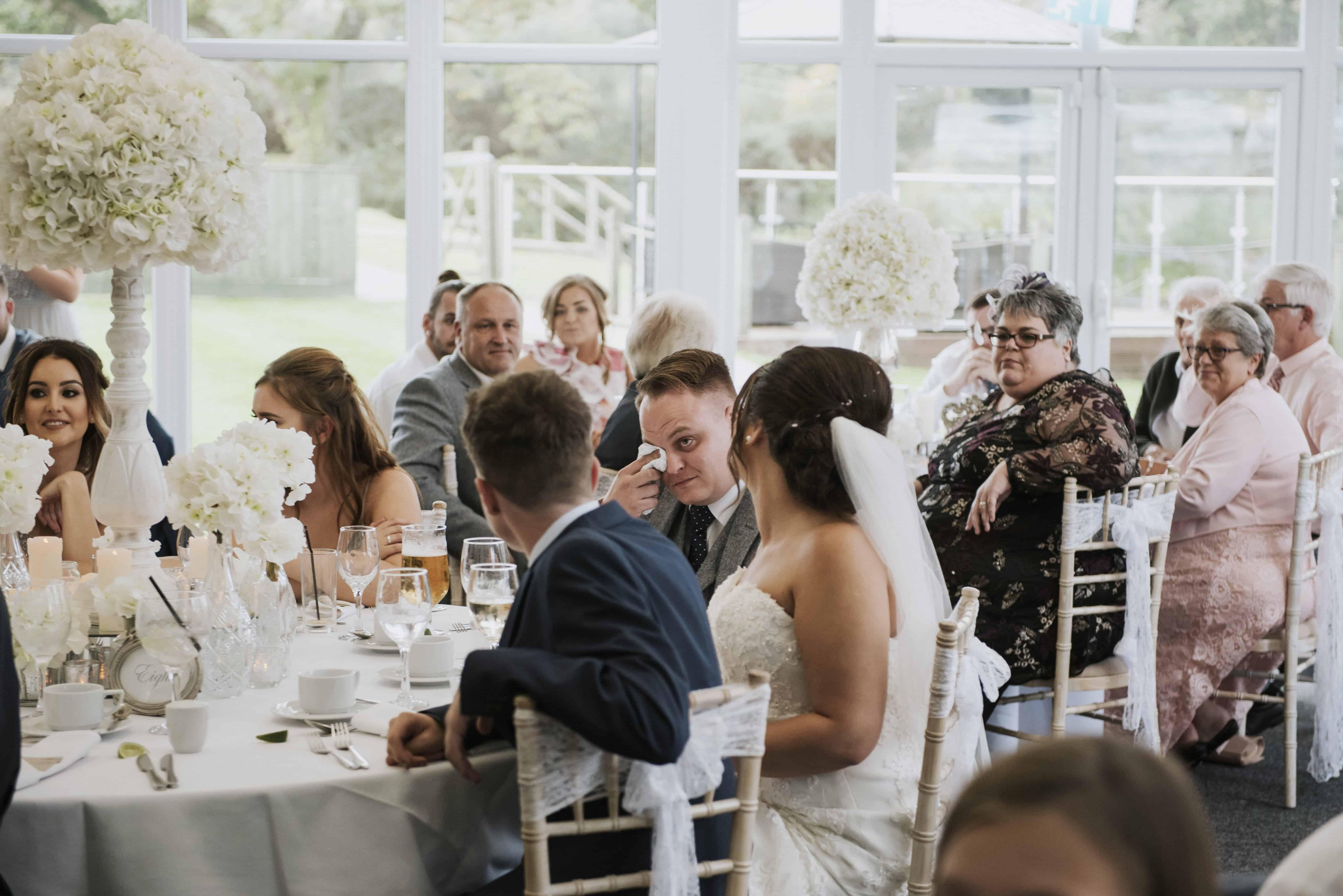 Groom crying during wedding speeches Oldwalls Wedding Photographer