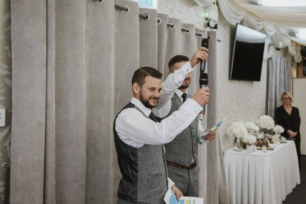Best men toasting during wedding speeches Oldwalls Wedding Photographer
