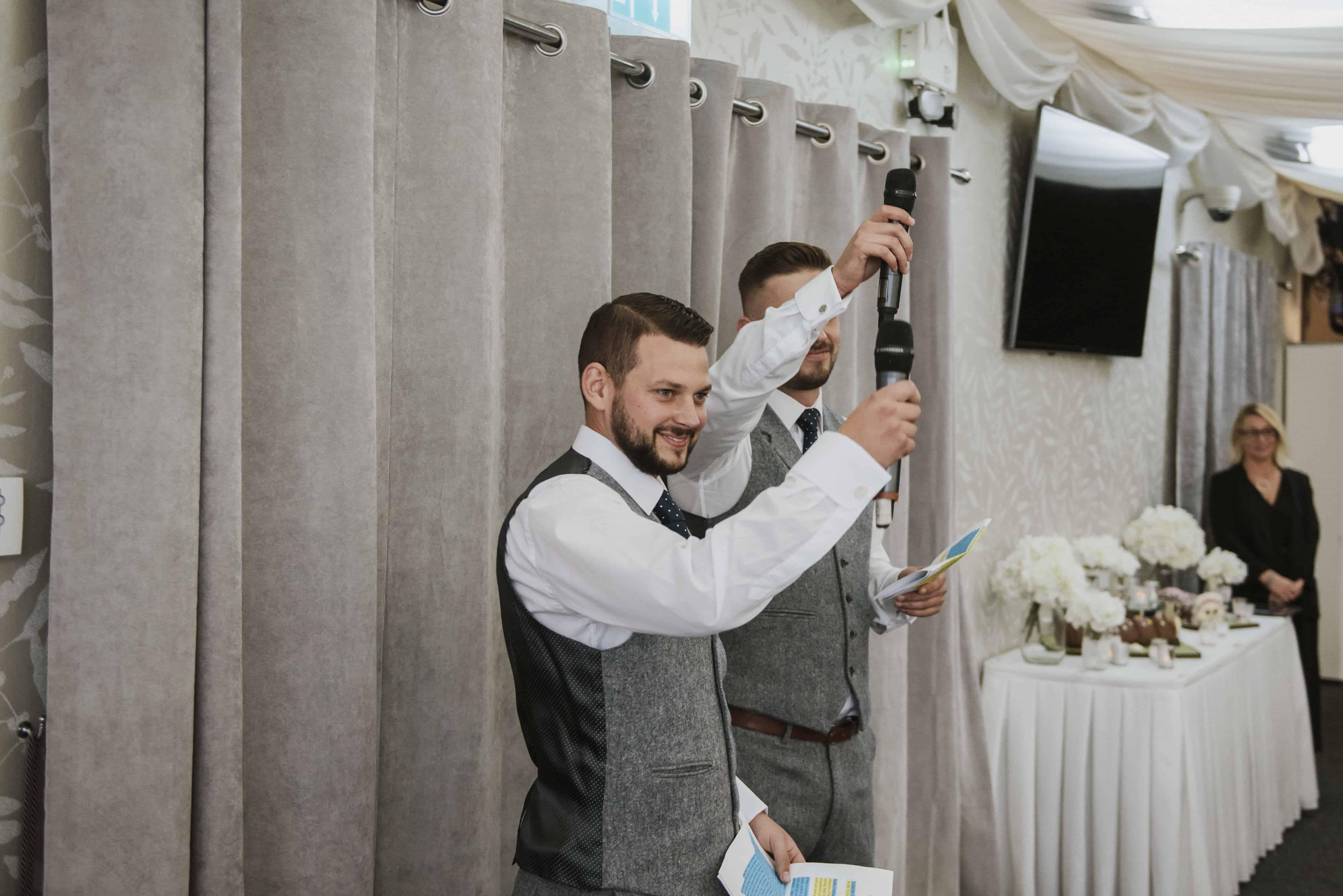 Best men toasting during wedding speeches Oldwalls Wedding Photographer
