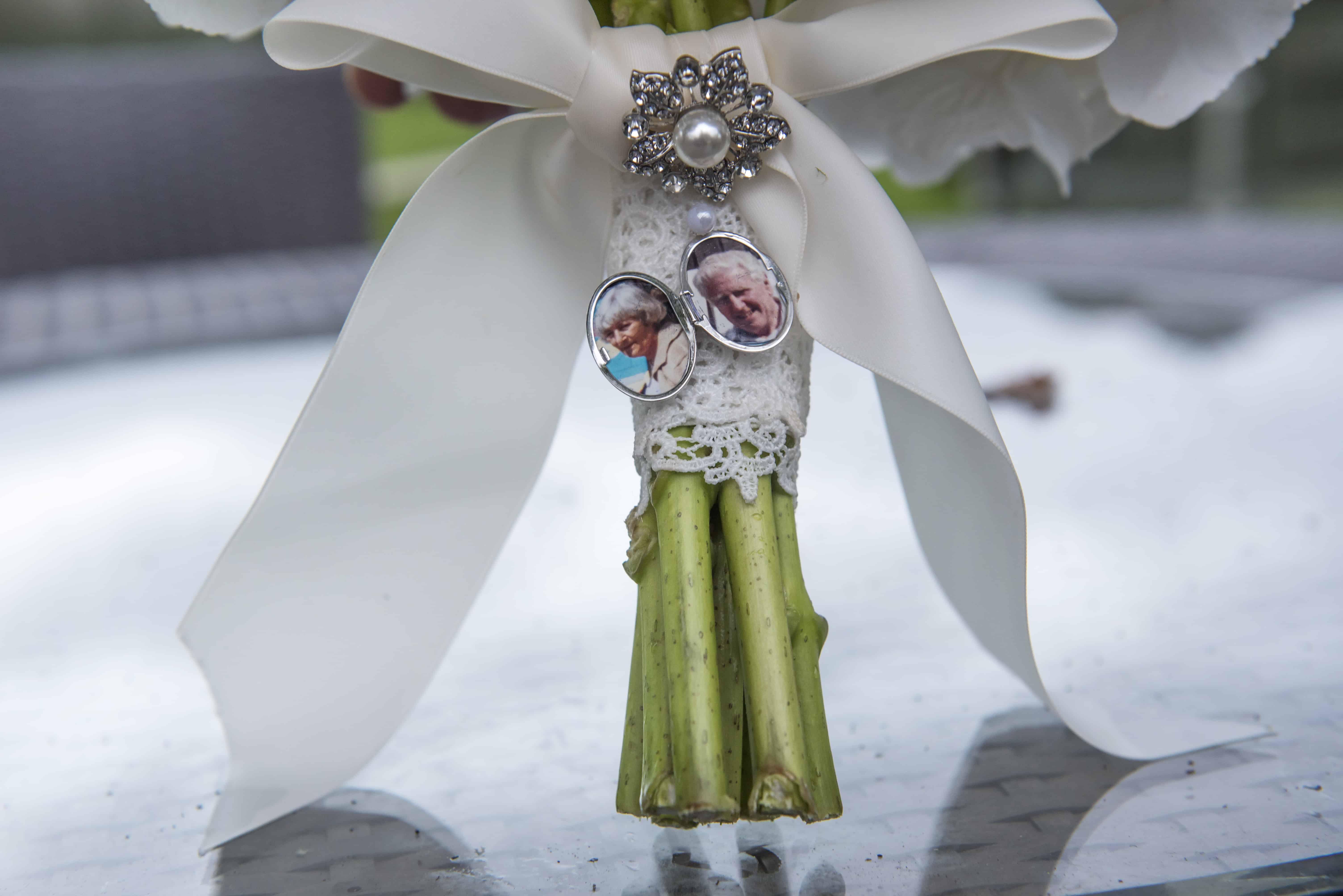 Close up of wedding flowers with pendant Oldwalls Wedding Photographer