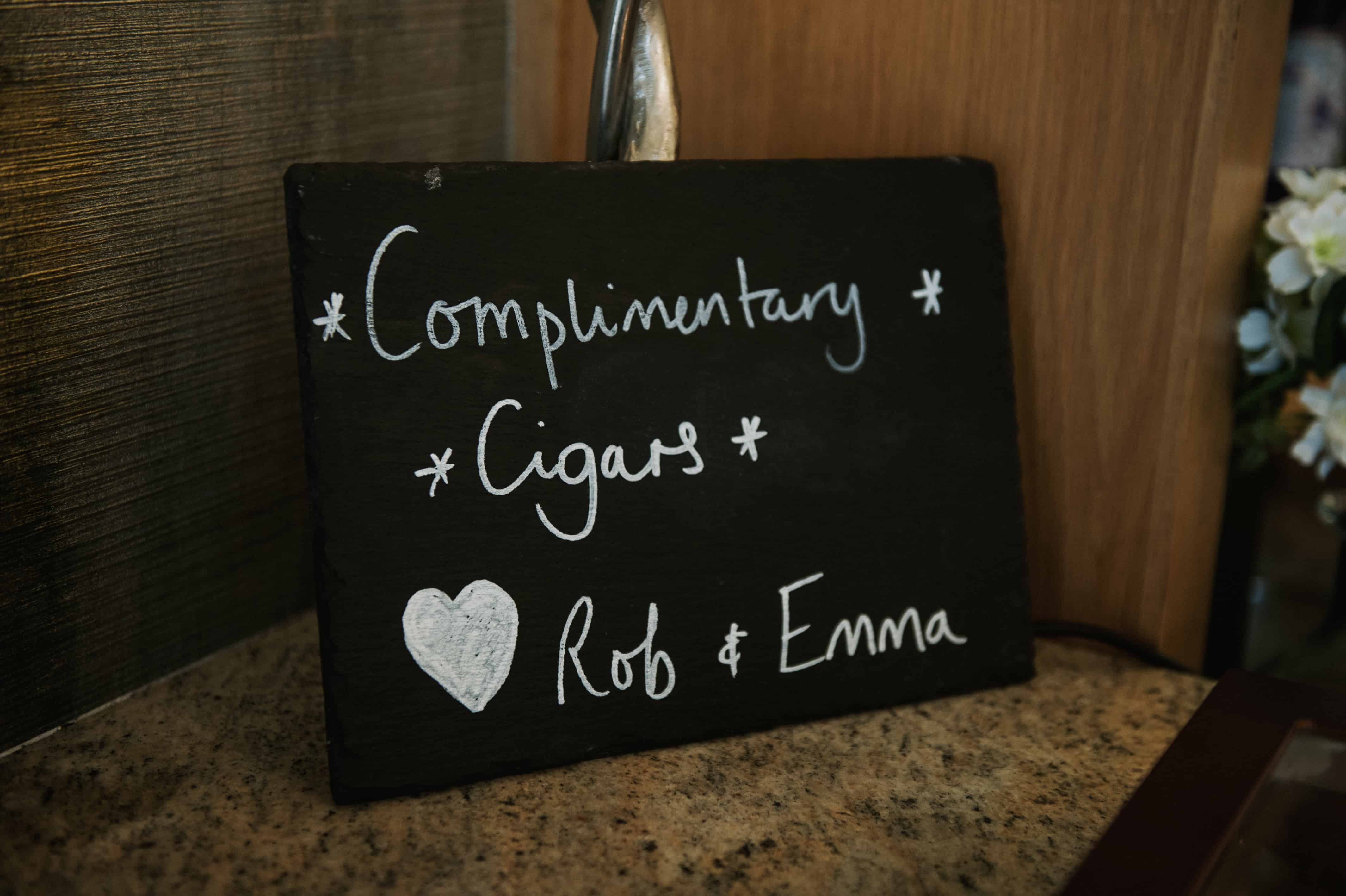 Chalk board sign for complimentary Cigars Oldwalls Wedding Photographer