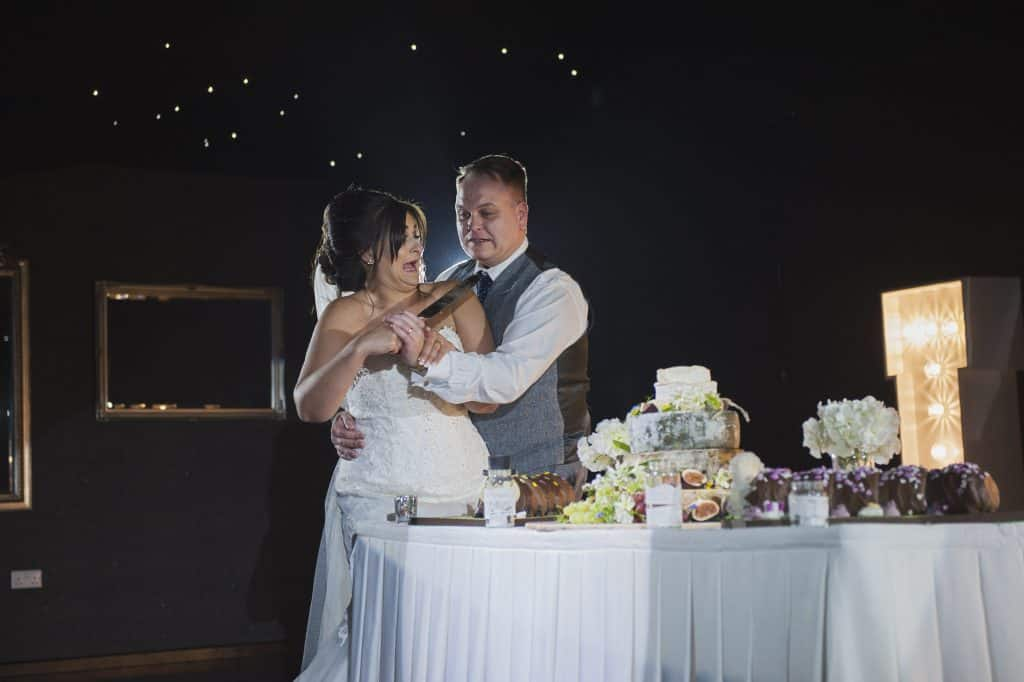 Bride & Groom cutting wedding cake Oldwalls Wedding Photographer